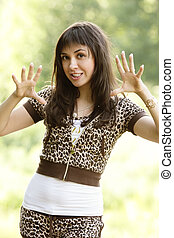 Frightening girl - Pretty brunette girl in frightening pose...