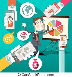 Businessman with Graph and Cell Phones in Hands Retro Flat Design Vector Illustration - Social Media Symbols Infographics