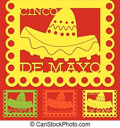 Mexican 'papel picado' (Paper flag decoration) set in vector...
