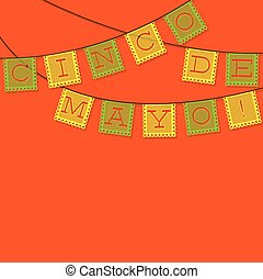 Mexican 'papel picado' (Paper flag decoration) card in...