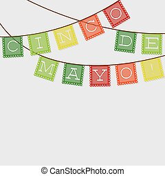 Mexican papel picado Paper flag decoration card in vector...