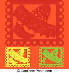Mexican papel picado Paper flag decoration set in vector...