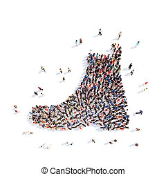 people in the form of shoes - Large group of people in the...