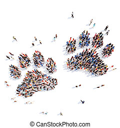 people in the form of animal tracks. - Large group of people...