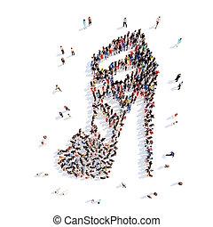 pessoas, em, a, forma, de, shoes.,