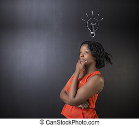 lightbulb, mulher, pensando, idéia, ou, luminoso, estudante,...