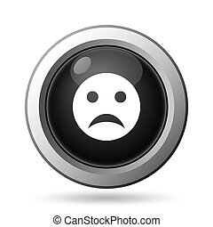 Sad smiley icon. Internet button on white background.