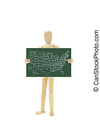 Mannequin Holding Map USA on chalkboard