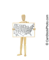 Mannequin Holding Map USA on white board