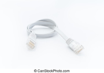 white Lan cable line on white isolated