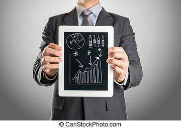 uomo affari, investimento, tavoletta, grafico