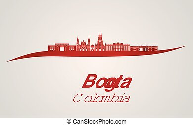 Bogota skyline in red and gray background in editable vector...