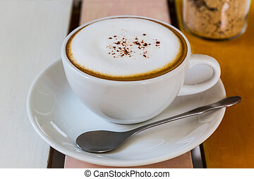 Cup of Cappuccino coffee - Cup of Cappuccino coffee on the...