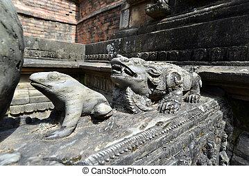 piedra, animales, nepal, fuente, tallado, público, Kathmandu...
