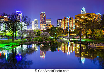 Charlotte, North Carolina Park Cityscape - Charlotte, North...