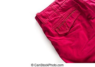 red short pants on white isolatedFashion