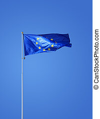 European Union Flag - European Union flag on flagstaff...