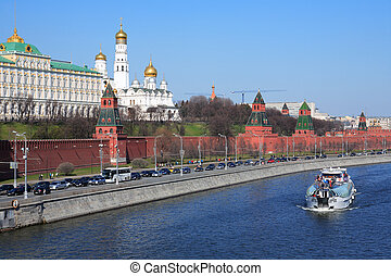 Pleasure Boat On Moskva River - Moscow, Russia, April 12,...