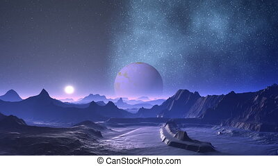 Nebula and planet aliens - Hills and low rocks bathed in...