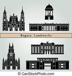 Bogota landmarks and monuments isolated on blue background...