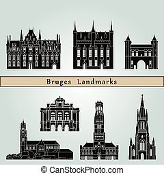 Bruges Landmarks - Bruges landmarks and monuments isolated...