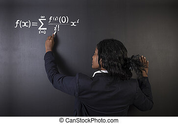 Learn maths, science or chemistry teacher with chalk background