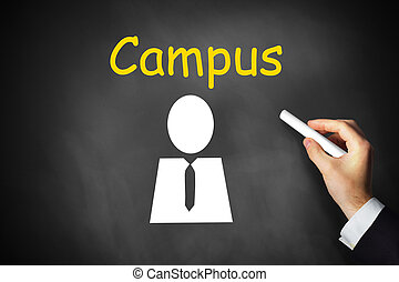 hand writing campus on black chalkboard - businessmans hand...