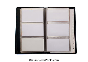 business cards - blank businedd cards in holder isolated on...
