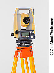 theodolite - looking into the level white isolated geodesyst