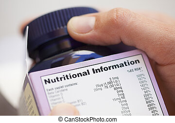 Nutritional information about vitamin pills on the box