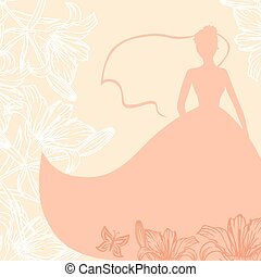 Wedding card with bride in lilies flowers - Vector...