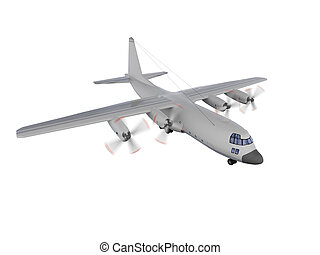military aircraft isolated view - isolated military airplane...