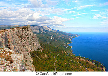 Coast of the Black Sea in autumn day Crimea