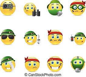 Military smilies - Set of yellow round smiles on the theme...