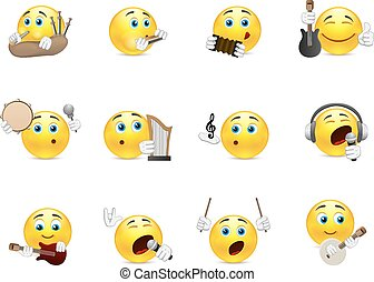 Smilies musical instruments - Set of yellow smiles that play...