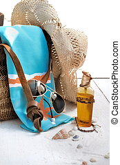 beach bad and accessories - beach bag and accessories on...