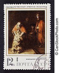 USSR postage stamp The Return of the Prodical Son by...