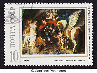 USSR postage stamp Perseus and Andromeda by Rubens. 1970...