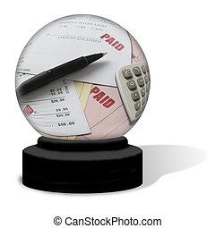 Paid Bills Crystal Ball - A crystal ball on a white...