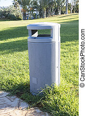 Outdoor Garbage Can - Outdoor grey empty garbage can