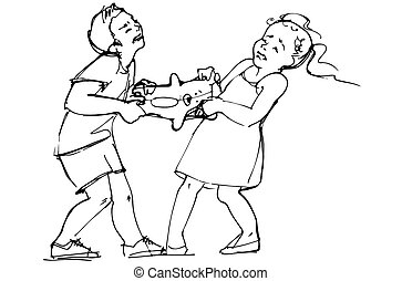 sketch of boy and girl children are fighting over a toy -...