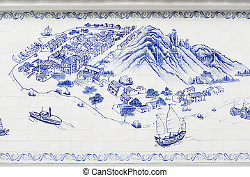 taipa island in macau painted on tiles - taipa island in...