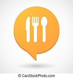 Comic balloon icon with cutlery