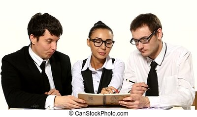 team of businessmen are talks on a white background - team...
