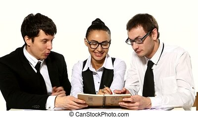 team of businessmen are funny talks on a white background,...