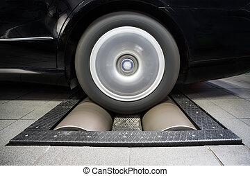 Wheel rolling on dynamo meter