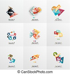 Set of paper graphic layouts Universal presentation, message...