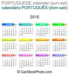 ポルトガル語, クレヨン,  2016, カレンダー, バージョン