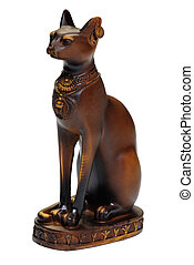 Egyptian cat statue isolated over white