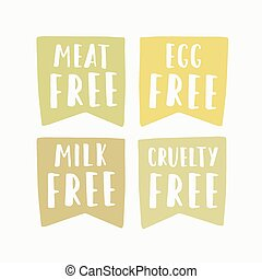 Meat, egg, milk, cruelty free labels. Vector hand drawn...